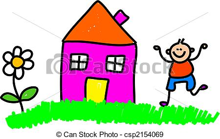 Kindergarten haus clipart svg royalty free Stock Illustration of House Kid - Cute whimsical child like ... svg royalty free
