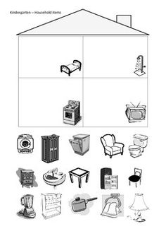 Kindergarten haus clipart clip art download English worksheet: Household Items Pictionary | SLP | Pinterest ... clip art download