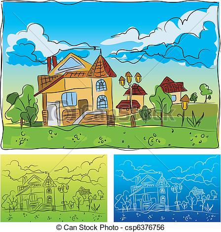Kindergarten haus clipart clip art stock Clip Art Vector of Kindergarten - Landscape with the house ... clip art stock