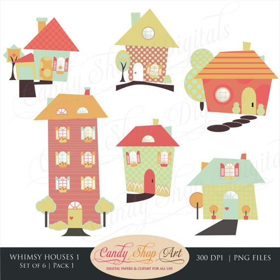 Kindergarten haus clipart clipart free library Instant Download - Whimsical Houses Clipart, Houses Clip Art, Fun ... clipart free library