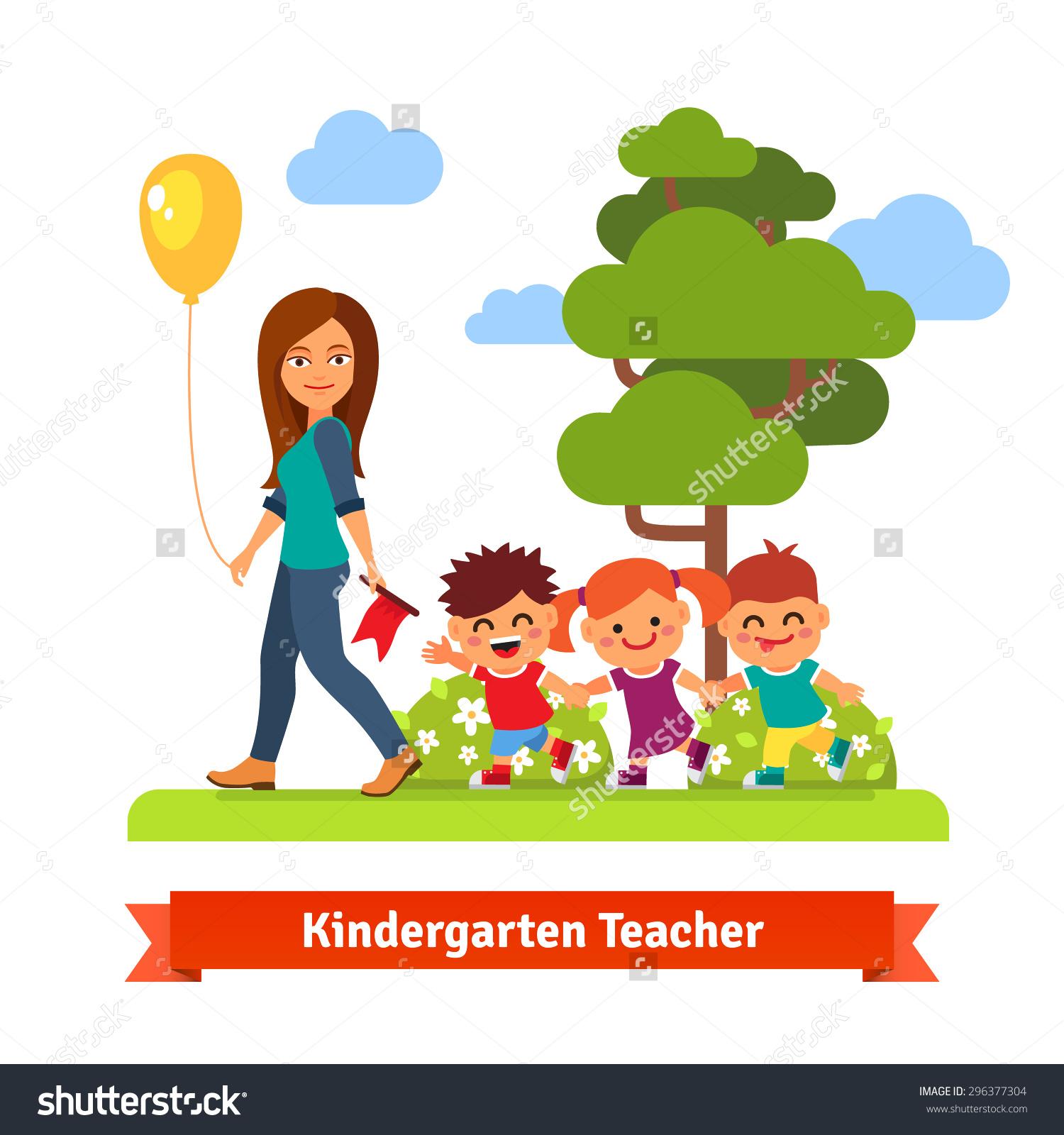 Kindergarten teacher clipart picture freeuse stock Young Kindergarten Teacher Walking Park Kids Stock Vector ... picture freeuse stock