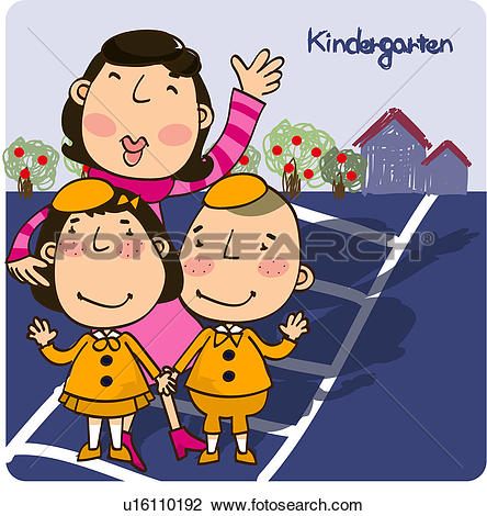 Kindergarten teacher clipart free Clip Art of outdoors, child, order, crosswalk, kindergarten ... free