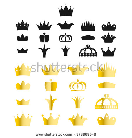 King and queen crown clipart image library Gold Crown Clip Art Vector Set Stock Vector 378721495 - Shutterstock image library