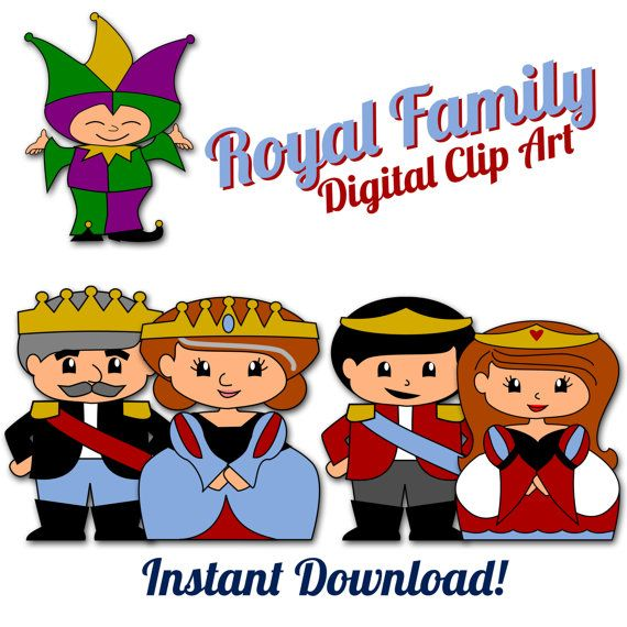 King queen clipart banner library library King, Queen, Princess, Prince, and Court Jester Digital Clipart ... banner library library