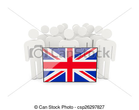 Kingdom with people clipart clip art royalty free library Clip Art of People with flag of united kingdom isolated on white ... clip art royalty free library