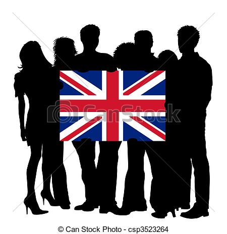 Kingdom with people clipart free Drawing of Young People with a Flag of United Kingdom csp3523264 ... free