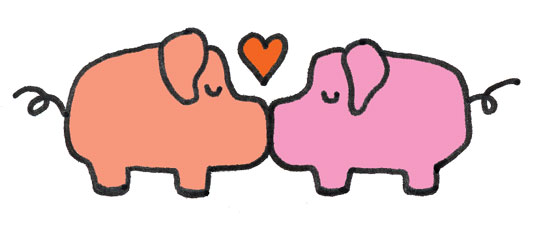 Kiss a pig clipart black and white How do pigs kiss? – Pen and Oink black and white
