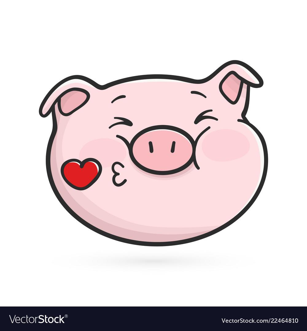 Kiss a pig clipart picture download Sending a kiss emoticon icon emoji pig picture download