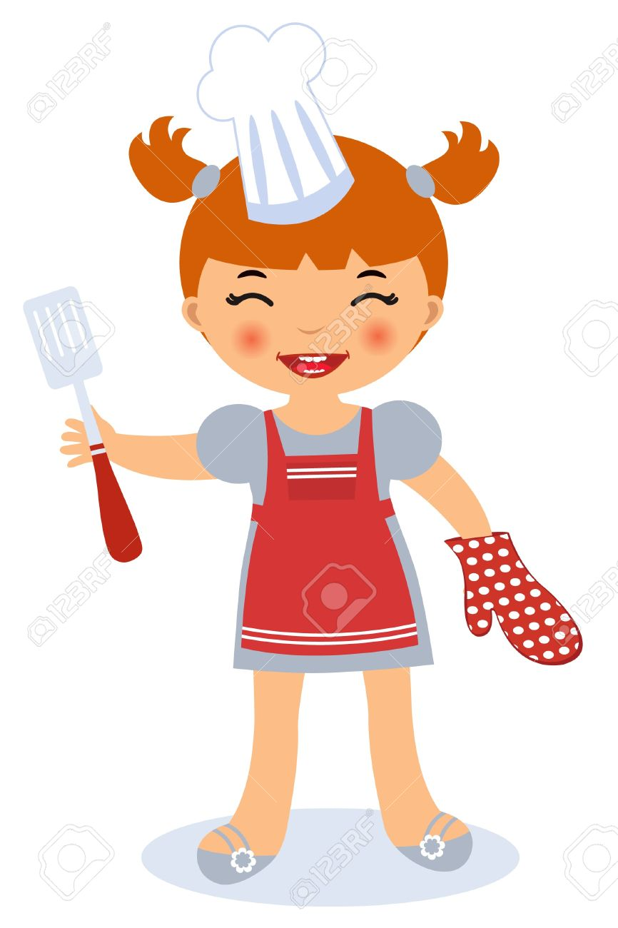 Kitchen chef clipart girl graphic royalty free stock Little Girl Cooking Royalty Free Cliparts, Vectors, And Stock ... graphic royalty free stock