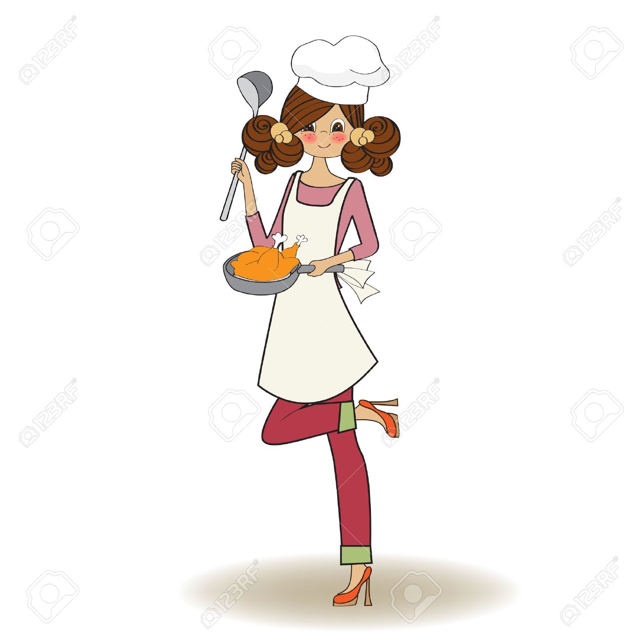 Kitchen chef clipart girl picture royalty free download Woman Cooking, Illustration In Vector Royalty Free Cliparts ... picture royalty free download