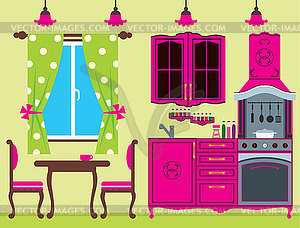 Kitchen furniture clipart banner freeuse stock Kitchen furniture. Interior - vector clipart banner freeuse stock