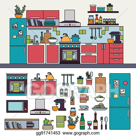 Kitchen furniture clipart banner freeuse EPS Vector - Kitchen interior with modern furniture. Stock Clipart ... banner freeuse