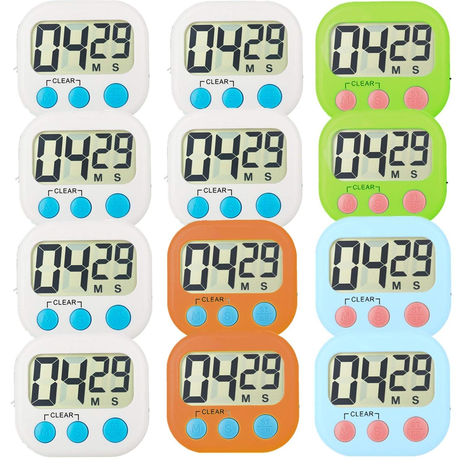 Kitchen timers clipart clip transparent download Kitchen Timer 12 Pack Small Digital Electronic Loud Alarm, Magnetic  Backing, ON/OFF Switch, Minute Second Countdown, White, Green, Blue and  Orange (12 ... clip transparent download