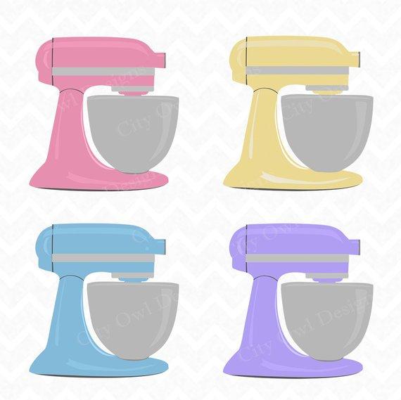 Kitchenaid clipart vector royalty free stock Stand Mixer, Kitchen Clip Art, Baking Clipart, Colorful ... vector royalty free stock