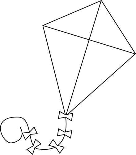 Kite clipart with face black and white free stock Kite Clipart Black And White - Free Clipart free stock