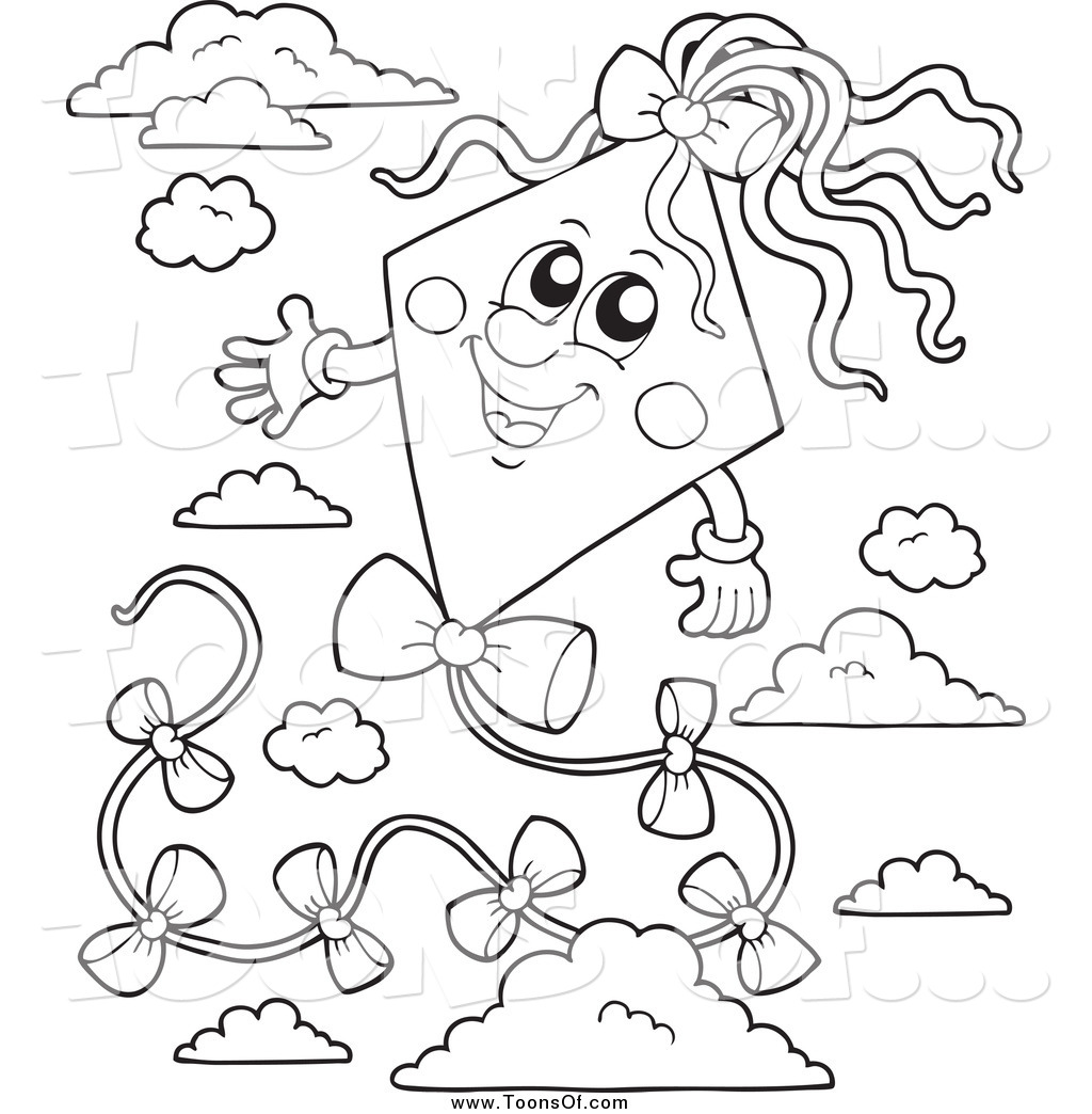 Kite clipart with face black and white clip art freeuse library Clipart of a Black and White Happy Kite in the Sky by ... clip art freeuse library