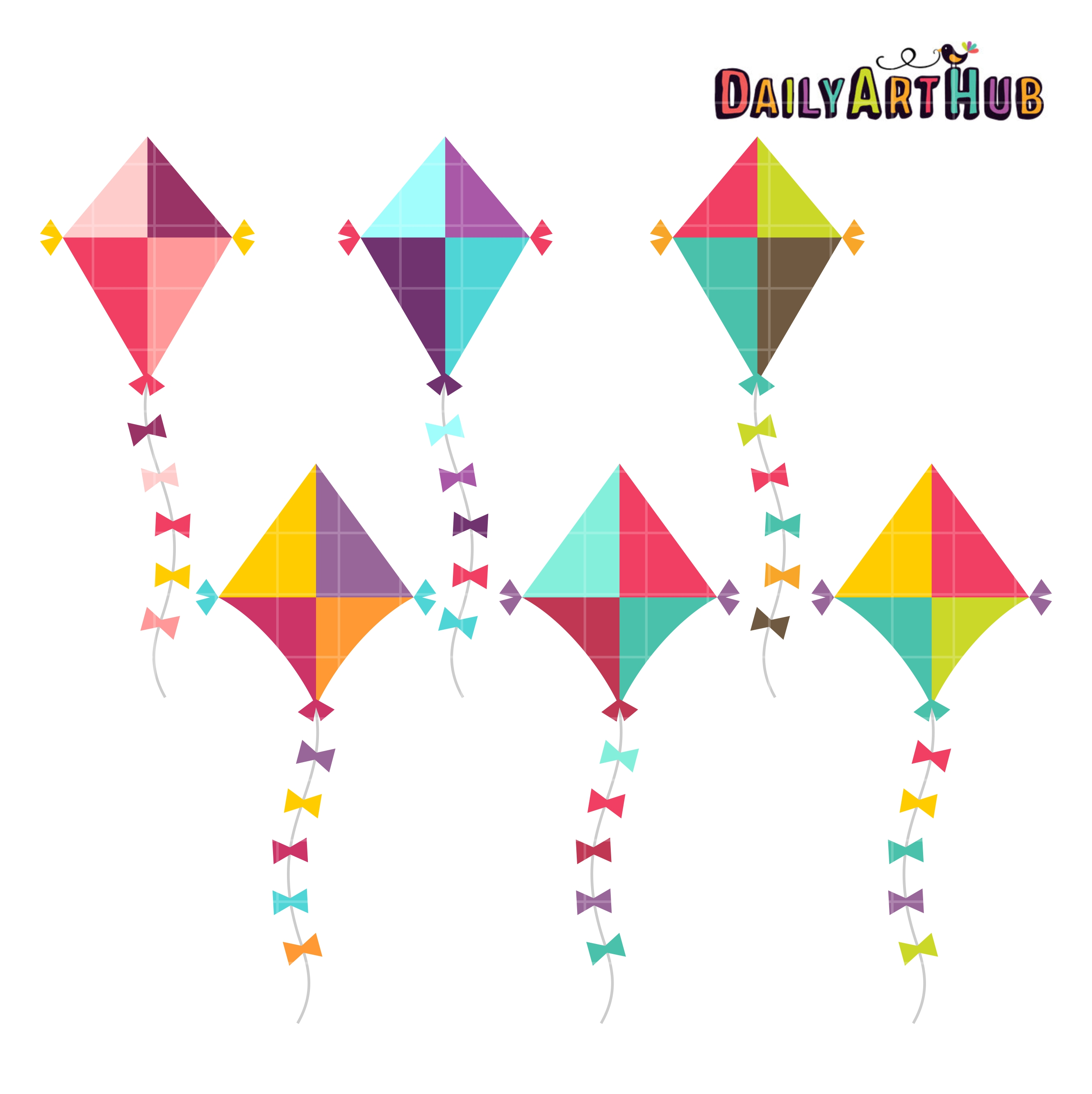 Kites clipart clip black and white stock Cute Colorful Kites Clip Art Set clip black and white stock