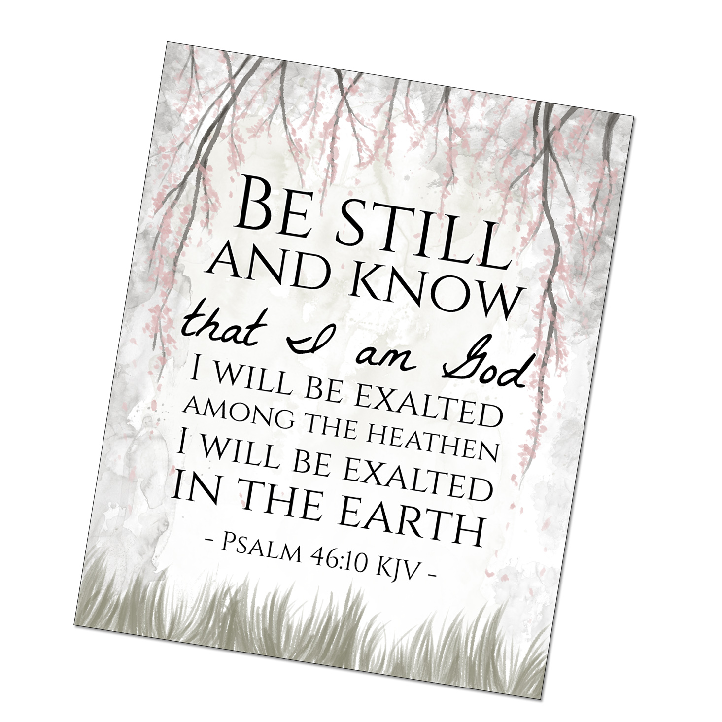 Kjv bible verse clipart black and white download Be Still and Know - Psalms Scripture Printable download