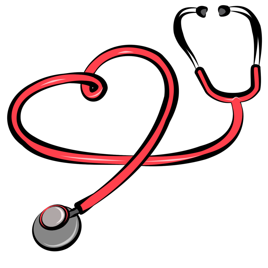 Heart stethoscope clipart black and white