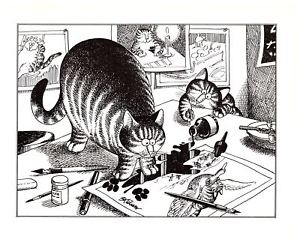 Kliban cat playing hockey black and white clipart freeuse download Details about Cats In Art Studio Spilling Ink paw Prints Kliban Cat Print  Black White Vintage freeuse download