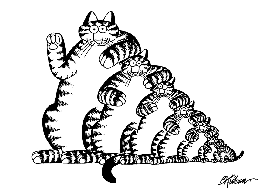 Kliban cat playing hockey black and white clipart graphic free Cats: B. Kliban Coloring Cards graphic free