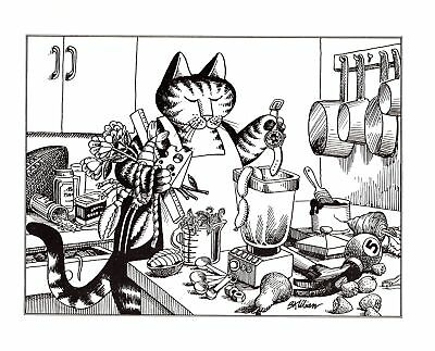 Kliban cat playing hockey black and white clipart graphic royalty free library VINTAGE KLIBAN CAT T-Shirt Crazy Shirt Hawaii Size M 70s ... graphic royalty free library