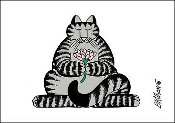 Kliban cat playing hockey black and white clipart banner free library Kliban cat meditating with lotus | One of my faves ... banner free library