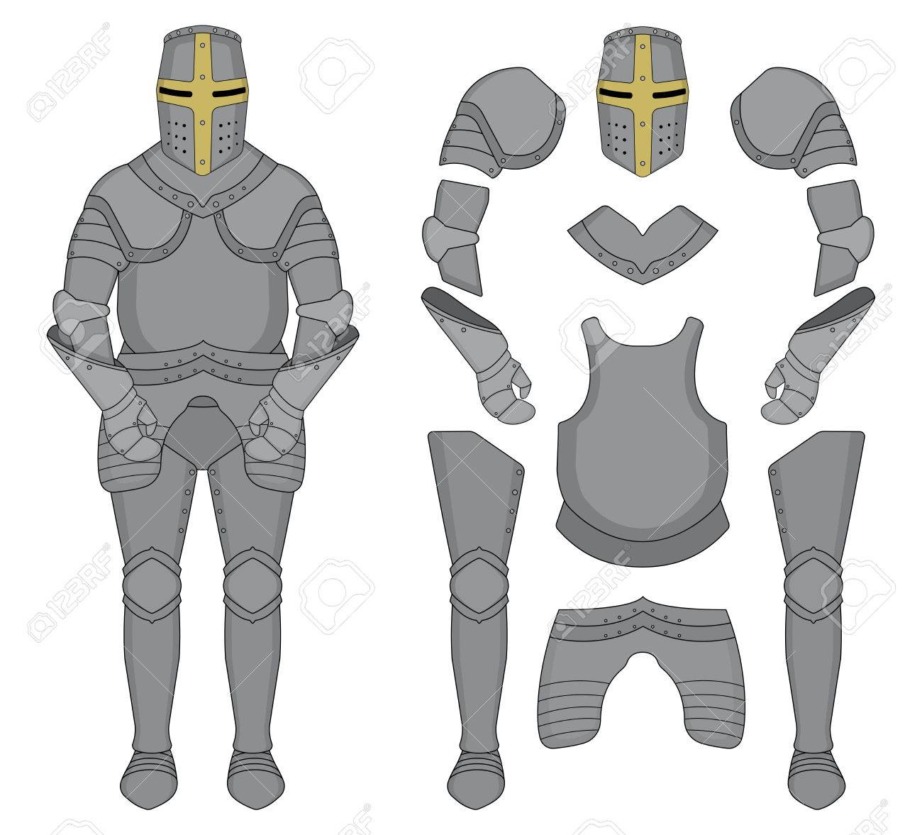 Knight armor clipart graphic library library Medieval templar knight armor set » Clipart Station graphic library library