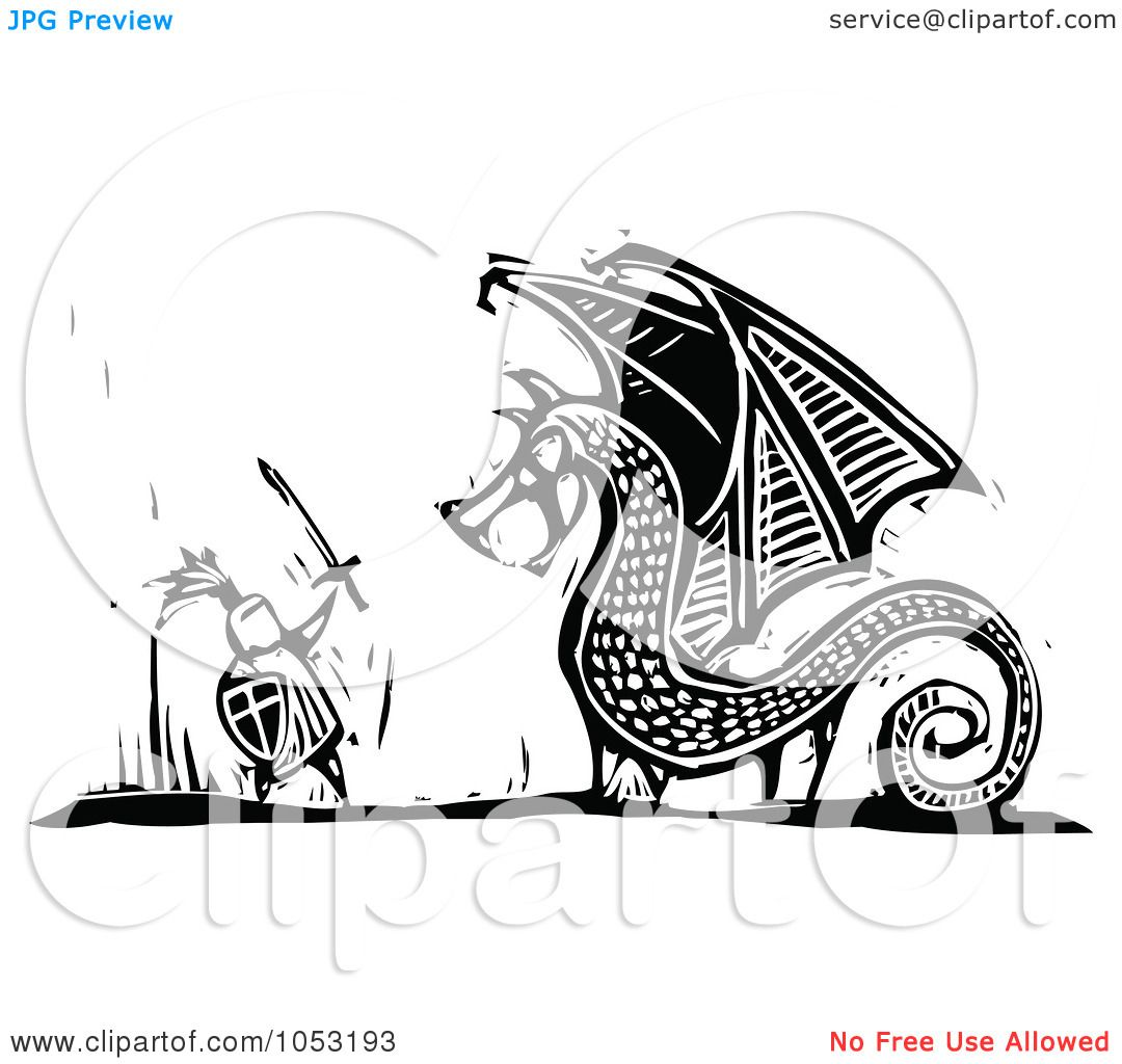 Knight fighting dragon clipart clip stock Royalty-Free Vector Clipart Illustration of a Black And ... clip stock