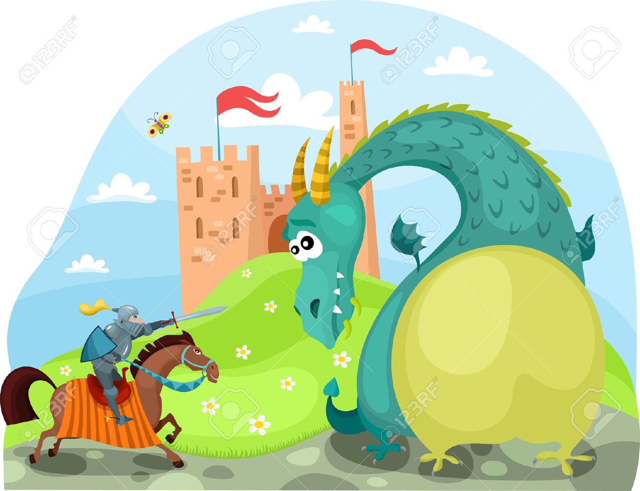 Knight fighting dragon clipart picture black and white library Dragon And Knight Royalty Free Cliparts, V #35644 ... picture black and white library