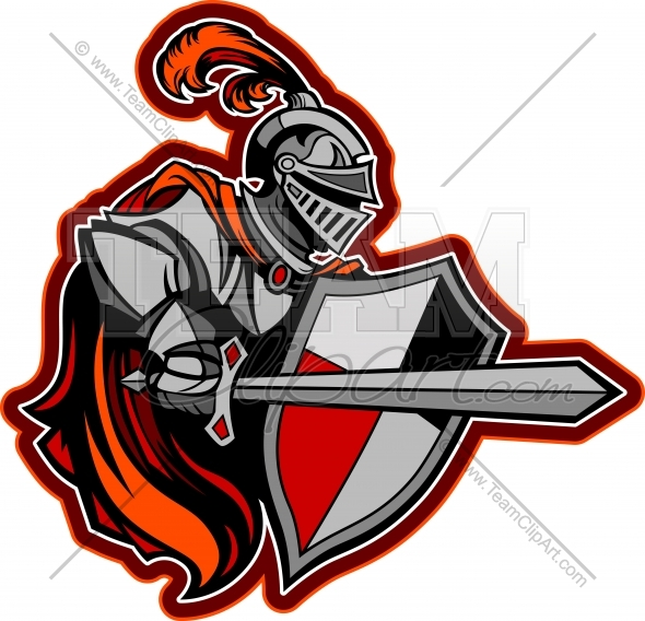 Knight with sword clipart vector freeuse stock Medieval Knight with Sword and Shield Vector Image - Team ... vector freeuse stock