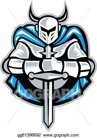 Knight with sword clipart picture freeuse download Vector Clipart - Knight with sword and cape front retro ... picture freeuse download