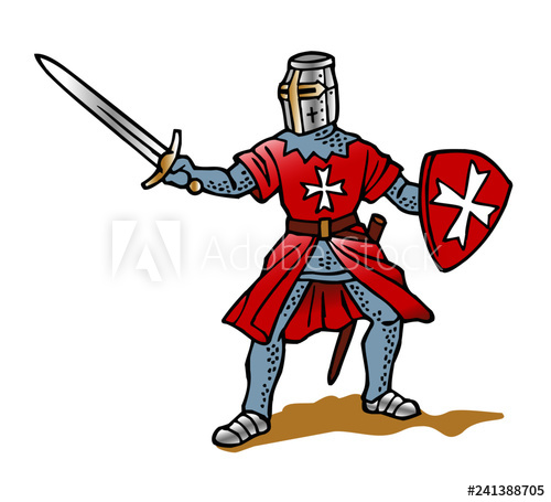 Knight with sword clipart picture royalty free stock Templar knight with sword and shield red with white cross ... picture royalty free stock