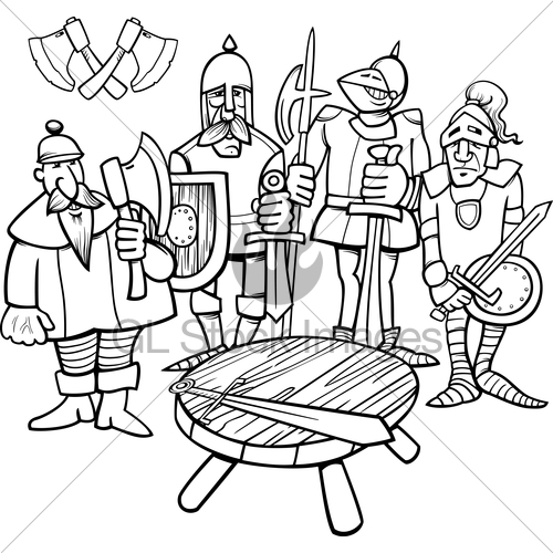 Knights of the round table clipart banner freeuse Knights Of The Round Table Coloring Page · GL Stock Images banner freeuse