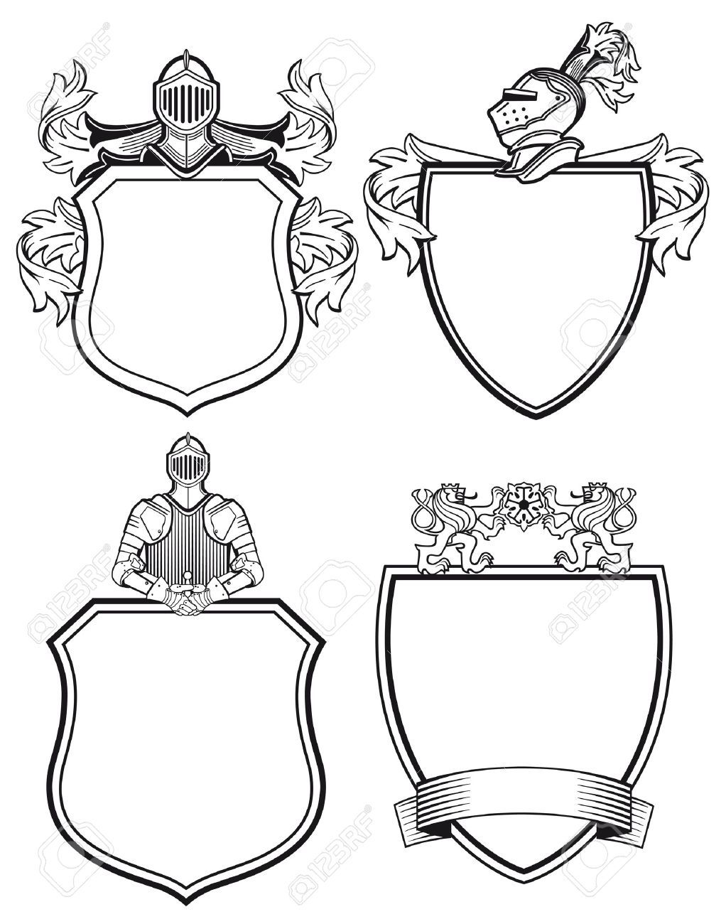 Knights shield border clipart black and white graphic free download Stock Vector | OZ tattoo | Coat of arms, Shield tattoo ... graphic free download