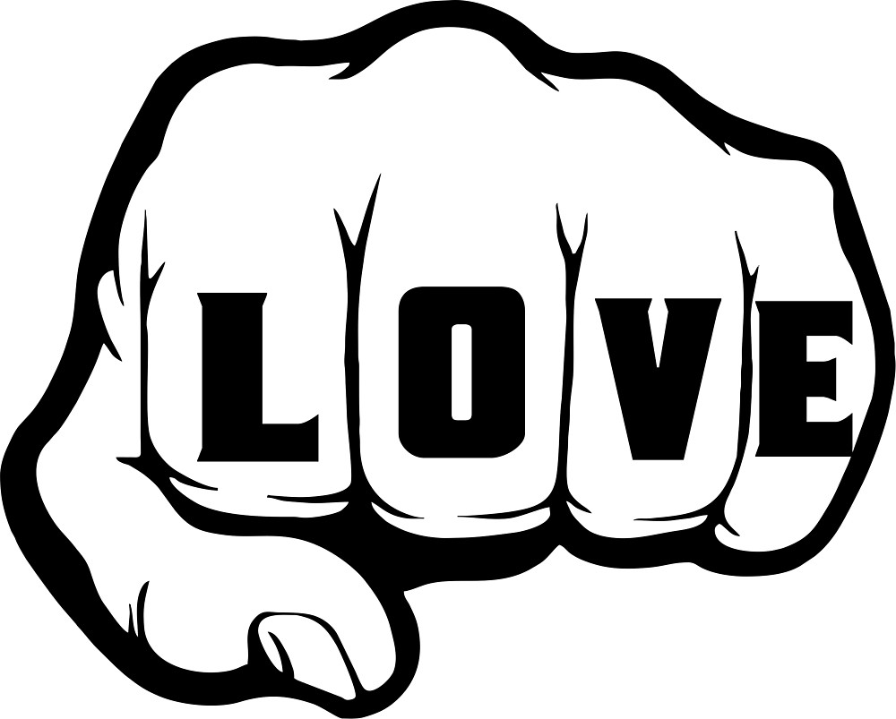 Knuckle tattoo clipart banner black and white LOVE Punch Knuckle Tattoo\