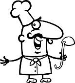 Koch bei der arbeit clipart png black and white download Clip Art - koch, oder, küchenchef, mit, schöpflöffel, karikatur ... png black and white download