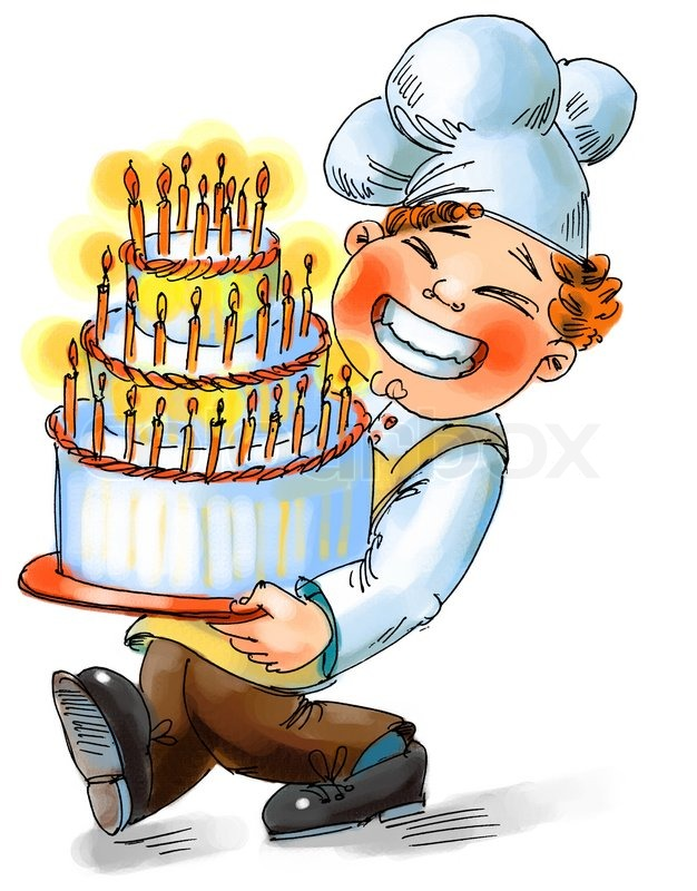 Koch bei der arbeit clipart clip art royalty free Koch hält einen großen Kuchen mit Kerzen Hand gezeichnet ... clip art royalty free