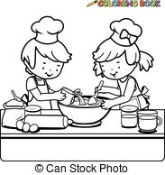 Kochen kinder clipart png black and white download Clipart Vektor von Kochen, Kinder, kueche - vektor, abbildung, von ... png black and white download