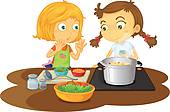 Kochen kinder clipart banner freeuse stock Clipart of Kids chefs k17080870 - Search Clip Art, Illustration ... banner freeuse stock