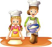 Kochen kinder clipart jpg freeuse download Clipart of Family Cook k6804810 - Search Clip Art, Illustration ... jpg freeuse download