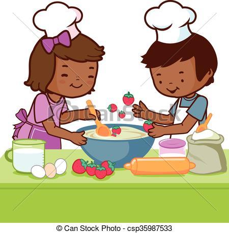 Kochen kinder clipart vector Vektoren von Kochen, Kinder, Satz, afrikanisch - vektor, abbildung ... vector