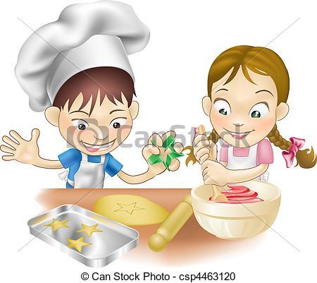 Kochen kinder clipart kostenlos banner Vector Clipart of two children having fun in the kitchen - An ... banner