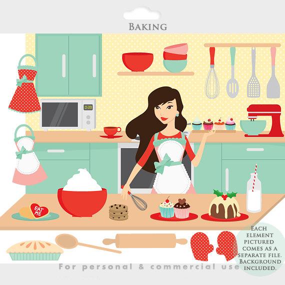 Kochen und backen clipart picture download Baking clipart   Etsy picture download