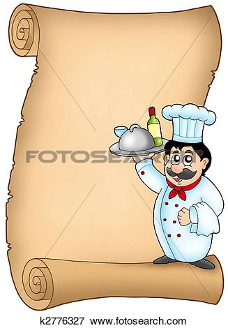 Kochen und backen clipart rahmen clipart free stock Stock Illustration of Scroll with chef 1 k2776327 - Search EPS ... clipart free stock