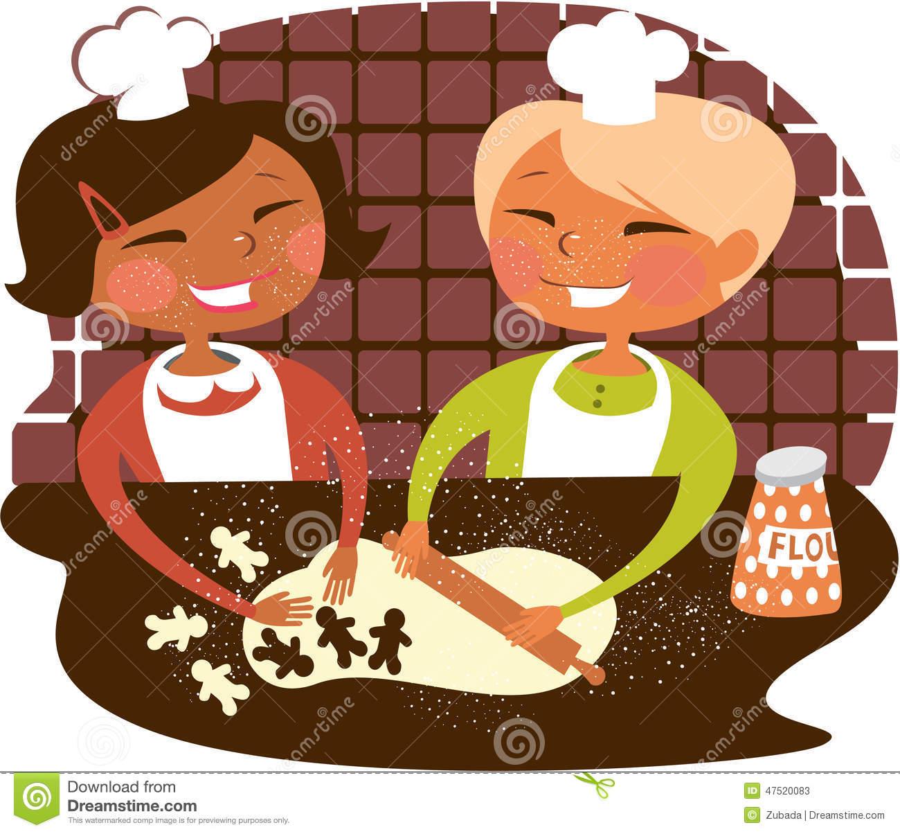 Kochen und backen mit kindern clipart graphic free Kinder, Die Plätzchen Backen Vektor Abbildung - Bild: 47520083 graphic free