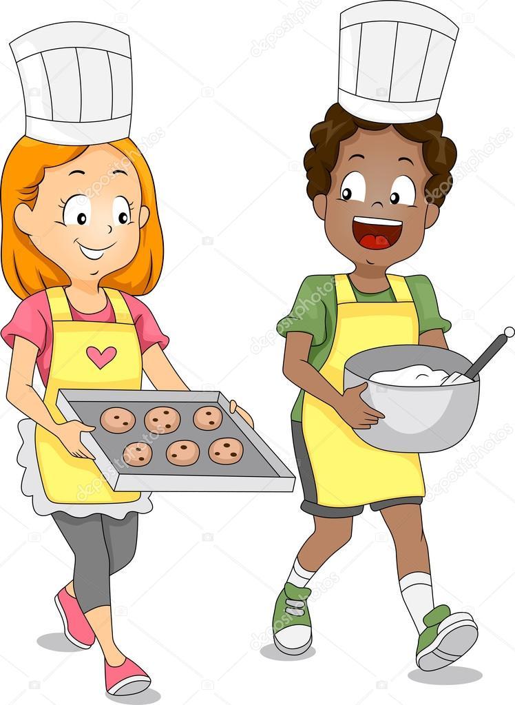 Kochen und backen mit kindern clipart jpg royalty free library Kinder Kekse backen — Stockfoto © lenmdp #7733571 jpg royalty free library