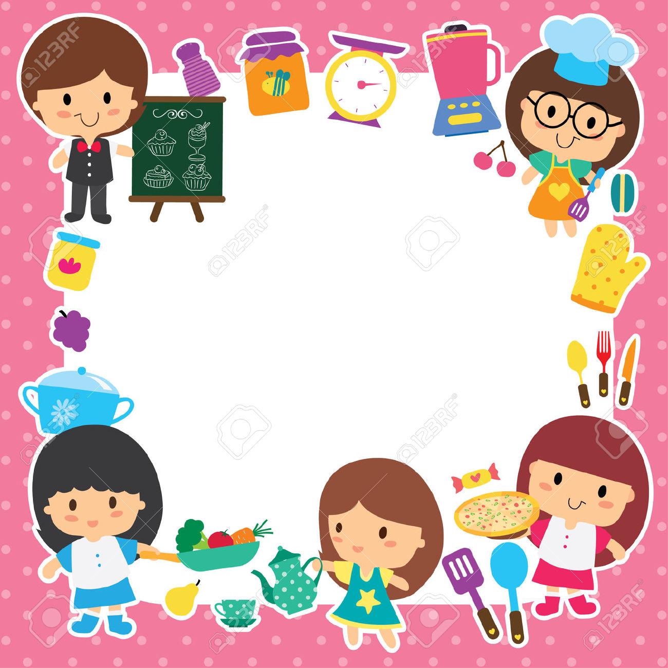 Kochen und backen mit kindern clipart image royalty free stock Zubereitung Von Speisen Und Kinder-Layout-Design Lizenzfrei ... image royalty free stock