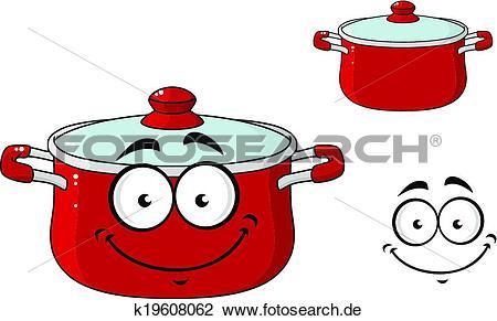 Kochtopf mit deckel clipart banner freeuse stock Clipart - klein, rot, karikatur, kochende, kochtopf, mit, a ... banner freeuse stock