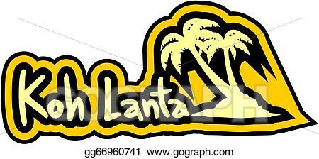 Koh clipart vector black and white EPS Vector - Koh lanta sticker. Stock Clipart Illustration ... vector black and white